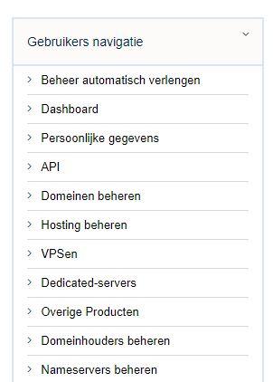 Vimexx dashboard