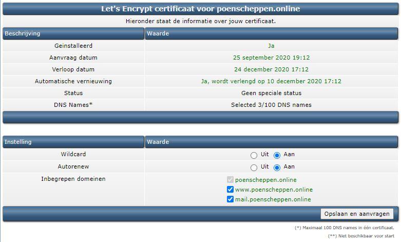 Vimexx encryptie aanvraag